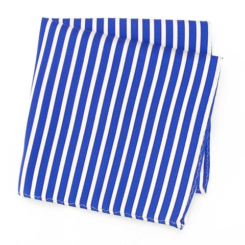 Blue and White Striped Woven Silk Hanky
