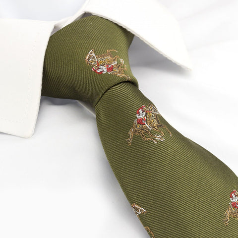 Luxury Green Horse Racing Silk Tie