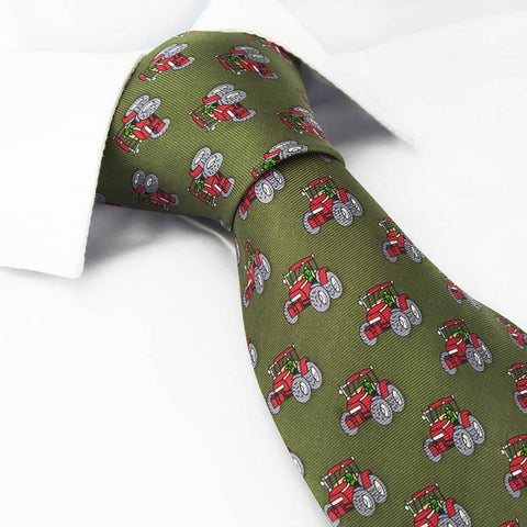 Green Tractor Country Silk Tie