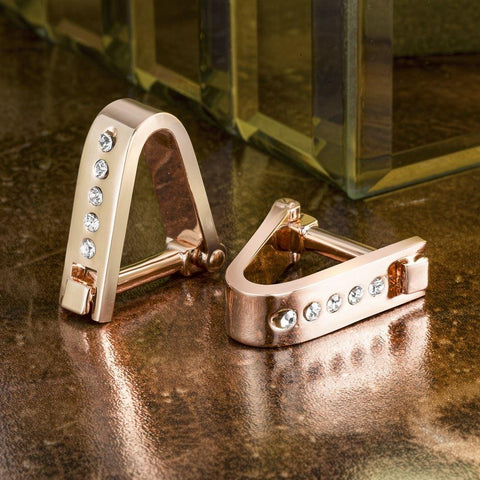 Rose Gold Crystal Hinge Clasp Cufflinks