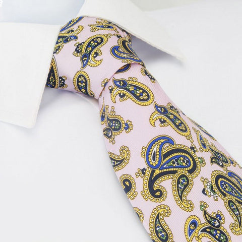 Pastel Pink Silk Tie With Large Paisley Design
