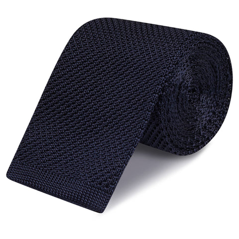 Navy Knitted Square Cut Silk Tie