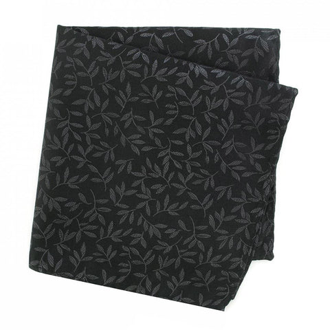 Black with Leaf Jacquard Design Silk Handkerchief