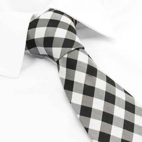Black & White Multi Check Silk Tie