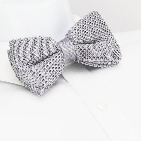 Pre-Tied Silver Knitted Bow Tie