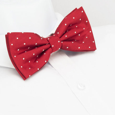 Pre-Tied Red Polka Dot Woven Silk Bow Tie