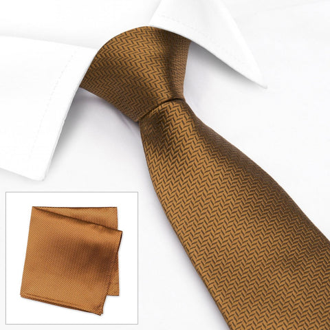 Bronze Herringbone Silk Tie & Handkerchief Set