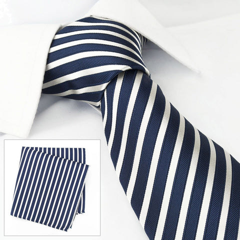 Navy & White Striped Woven Silk Tie & Handkerchief Set