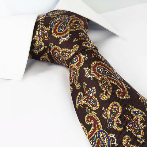 Brown Silk Tie with Large Paisley Design