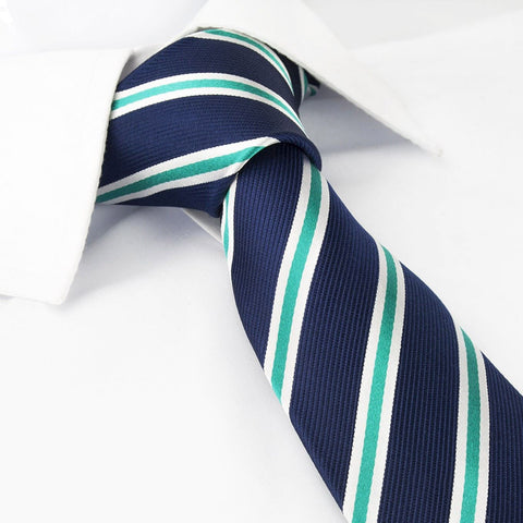 Navy with White and Green Stripes Silk Tie