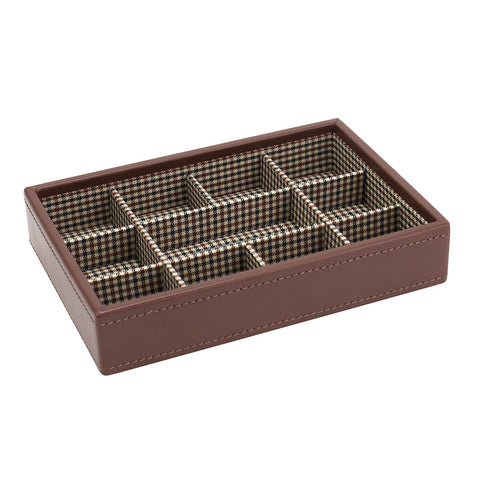 Stacker Tan Leather Tartan Cufflink Tray