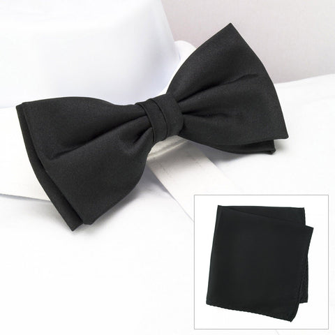 Plain Black Silk Bow Tie & Handkerchief Set