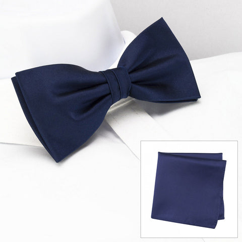 Plain Navy Silk Bow Tie & Handkerchief Set