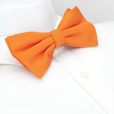 Pre-Tied Plain Orange Woven Silk Bow Tie
