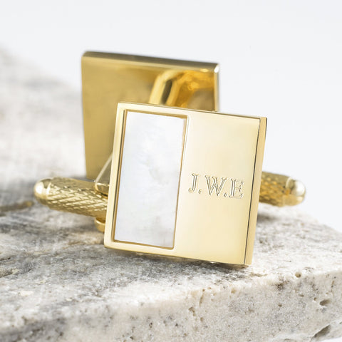 Gold Plated Square Mother of Pearl Engraved Cufflinks