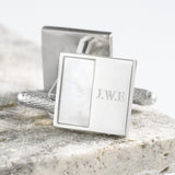 Silver Plated Square Mother of Pearl Engraved Cufflinks