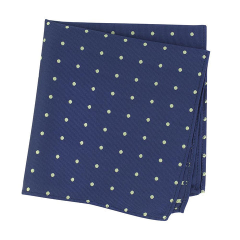 Navy & Green Polka Dot Woven Silk Handkerchief