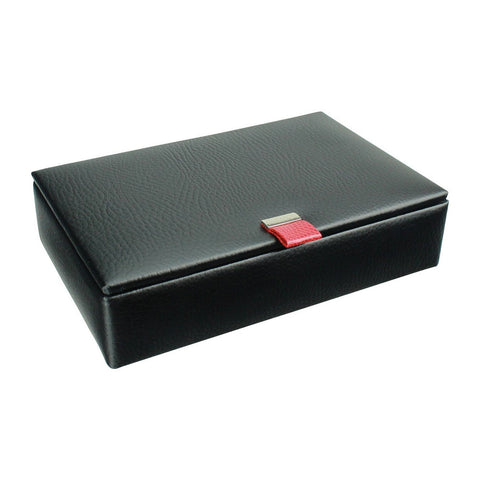 Black Leather 15 Piece Cufflink Box with Red Lining