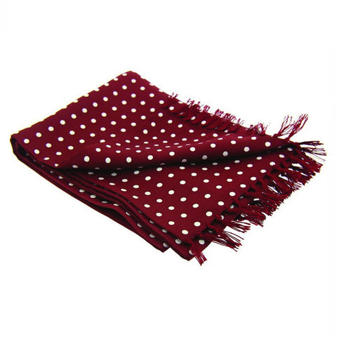 Wine Polka Dot Men's Silk Evening Scarf