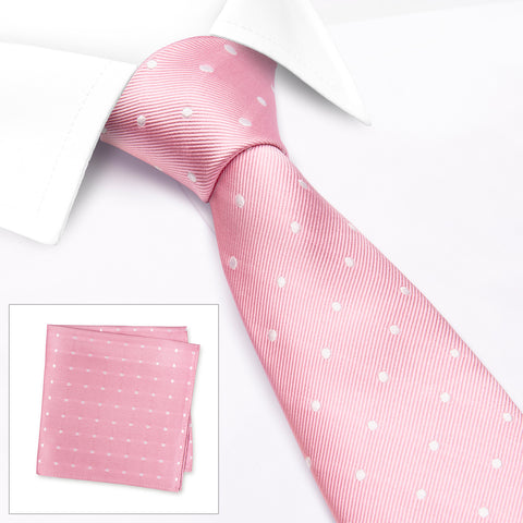 Pink & White Polka Dot Woven Silk Tie & Handkerchief Set