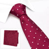 Burgundy Polka Dot Woven Silk Tie & Handkerchief Set
