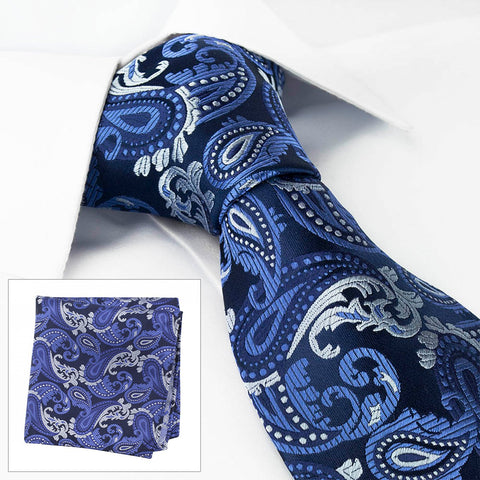 Blue Paisley Luxury Silk Tie & Handkerchief Set