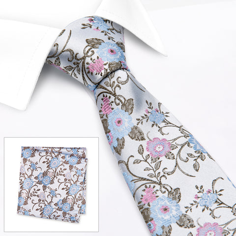 Blue & Pink Luxury Floral Silk Tie & Handkerchief Set
