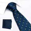 Navy & Yellow Polka Dot Woven Silk Tie & Handkerchief Set