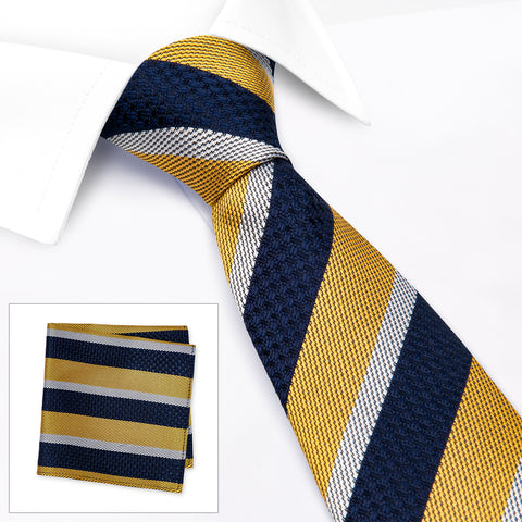 Yellow & Navy Textured Classic Striped Silk Tie & Handkerchief Set
