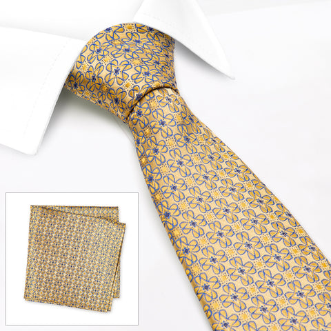 Gold & Blue Floral Luxury Silk Tie & Handkerchief Set