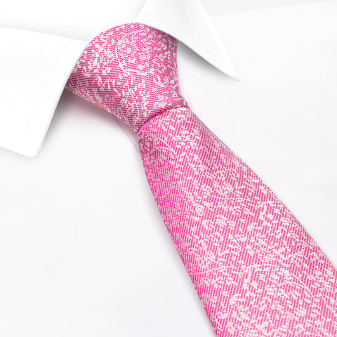 Pink Dainty Floral Woven Silk Tie