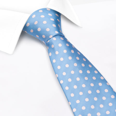 Blue Silk Tie With Pink Polka Dots