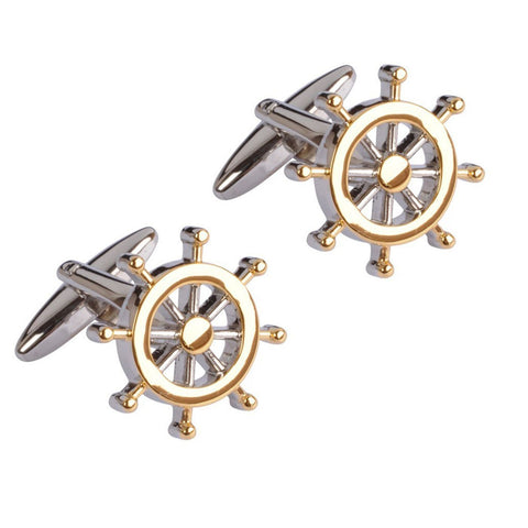 Two Tone Ship's Wheel Cufflinks