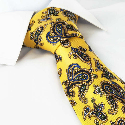 Gold Silk Tie with Large Paisley Design