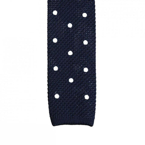 Navy Polka Dot Knitted Square Cut Tie