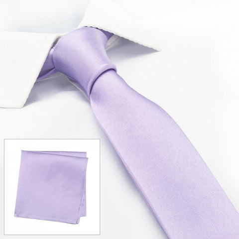 Plain Lilac Slim Silk Tie & Handkerchief Set