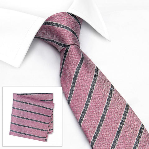 Pink and Black Silk Textured Stripe Classic Tie & Handkerchief Set