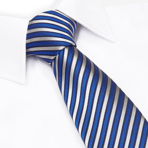 aeb8b7d66a1d Blue and White Striped Luxury Woven Silk Tie