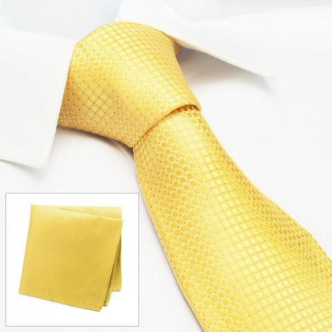 Gold Micro Square Woven Silk Tie & Handkerchief Set