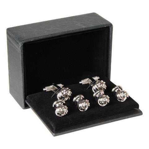 Silver Knot Cufflinks And Dress Studs Gift Set