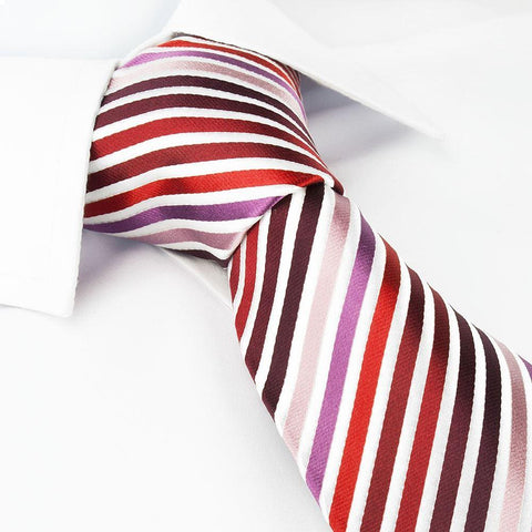 Red, Pink and Purple Striped Woven Silk Tie
