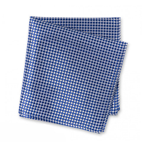 Blue & White Micro Square Woven Silk Handkerchief