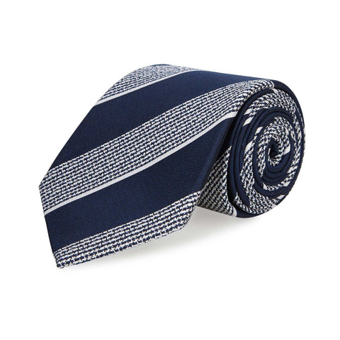 Navy & White Textured Classic Striped Silk Tie
