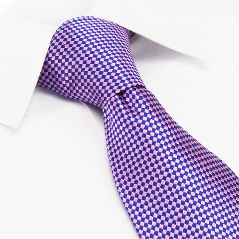 Pink & Purple Diamond Gridded Silk Tie