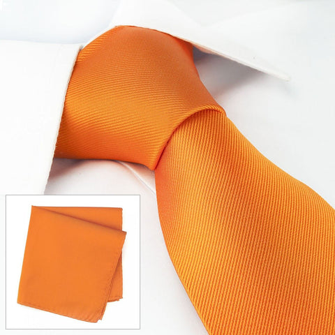 Plain Orange Woven Silk Tie & Handkerchief Set