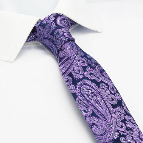 Purple Paisley Luxury Slim Silk Tie