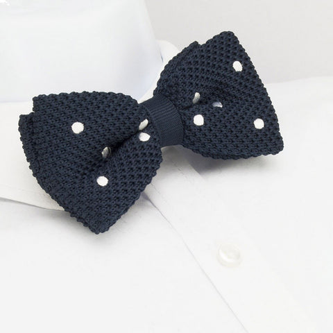 Pre-Tied Navy Polka Dot Knitted Bow Tie
