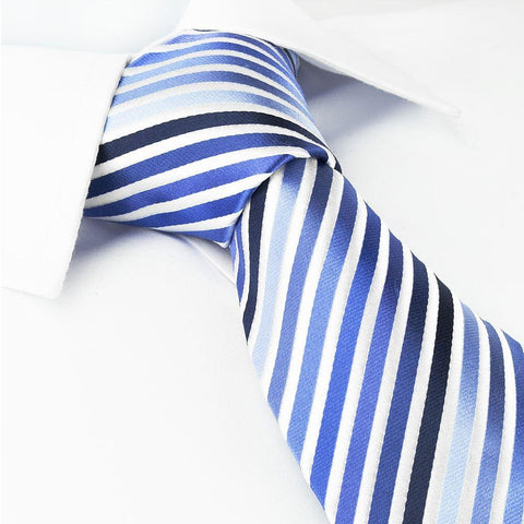 Various Blue Striped Woven Silk Tie