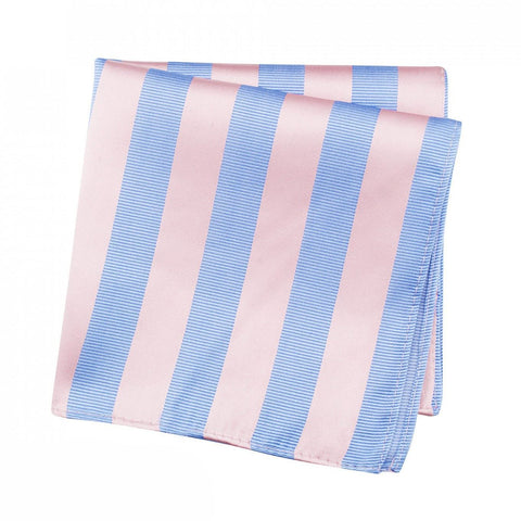 Pink & Blue Woven Striped Silk Handkerchief