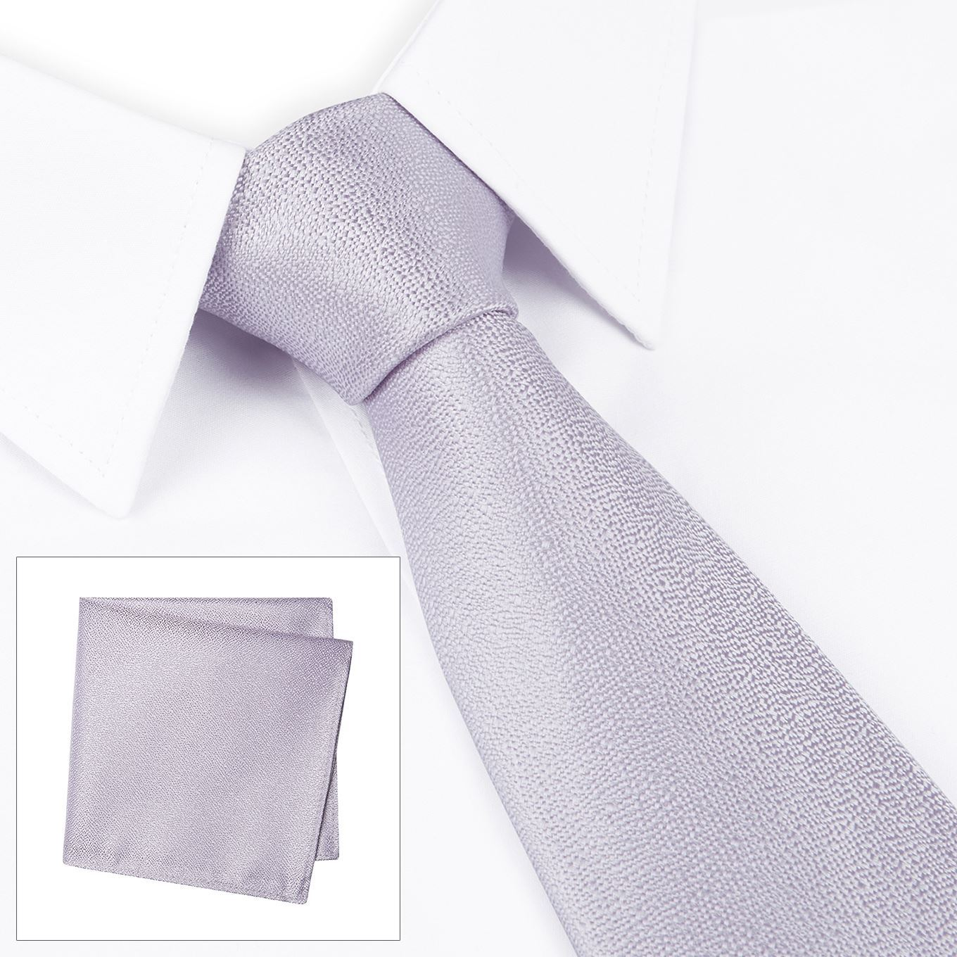 9aac33e7fbad Pastel Lilac Textured Woven Silk Tie & Handkerchief Set – The Tie Store